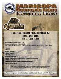 Maricopa Motorcycle Rider Rally Stage Coach Days