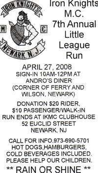 Iron Knights M.C. Little League Run - 7th Annual
