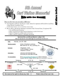 Carl Walton Memorial Ride With The Masons - 5th Annual
