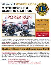 Wendell Lions Motorcycle Classic Car Poker Run